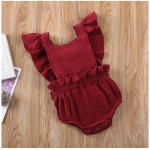 Baby Girl Ruffle Sleeve One-piece Romper